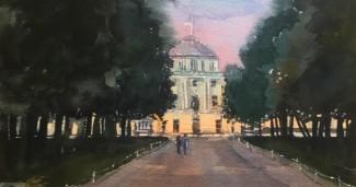 Акварель Закат в Павловске