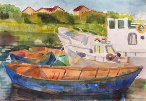 акварель старые лодки