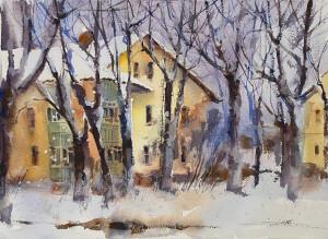 скетч улица с деревьями зимой