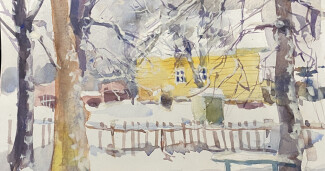 акварельный скетч зимний дом